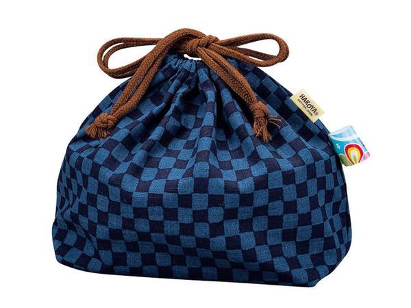 borsa porta-pranzo blu a scacchi