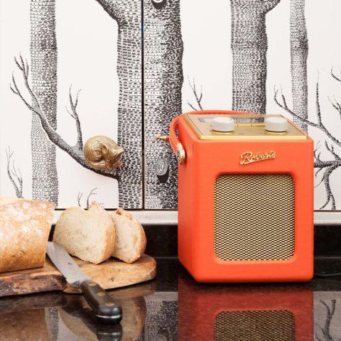 dettagli della cucina con radio e carta da parati