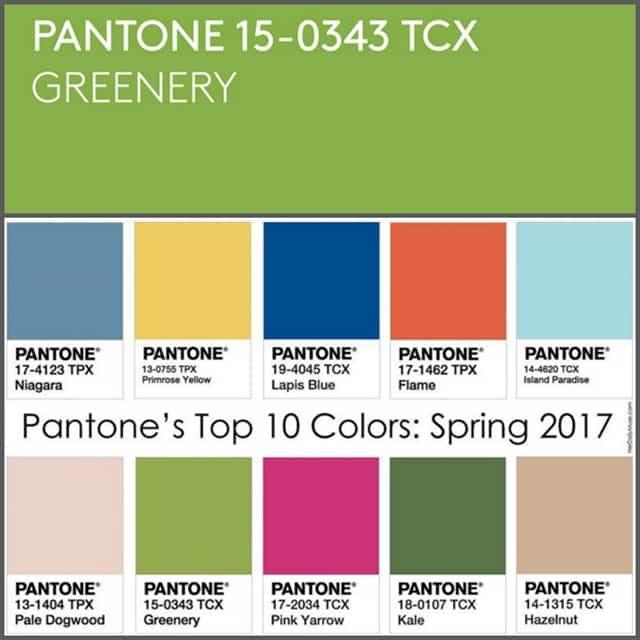 colore dell'anno e primavera 2017 suggeriti da Pantone