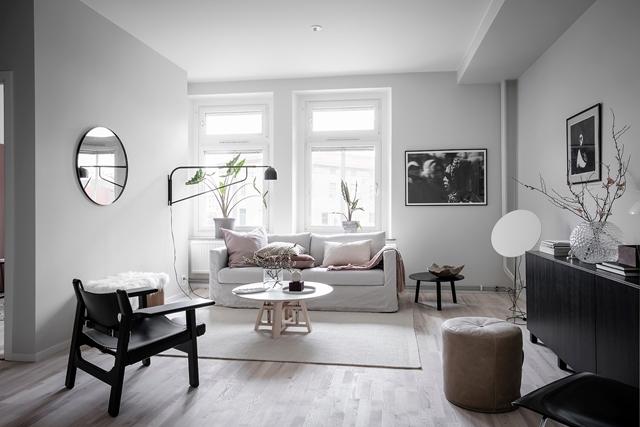 esempio di living nordic style in Stoccolma