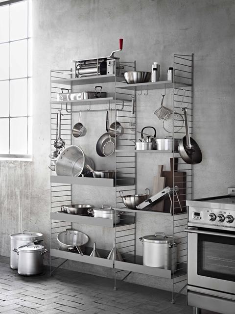 usare string system come dispensa e porta utensili da cucina