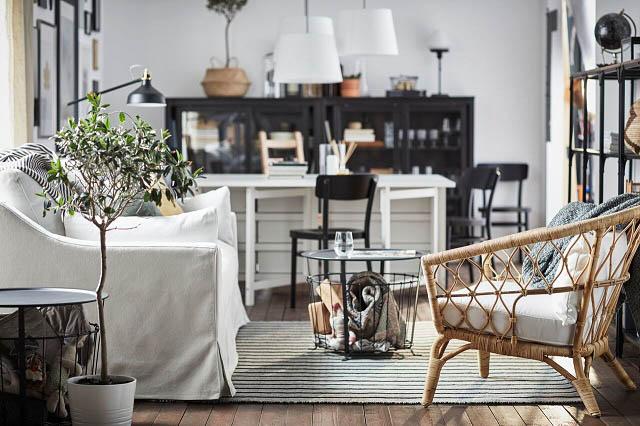 soggiorno con divano tavolino e tappeto dal nuovo catalogo ikea 2018