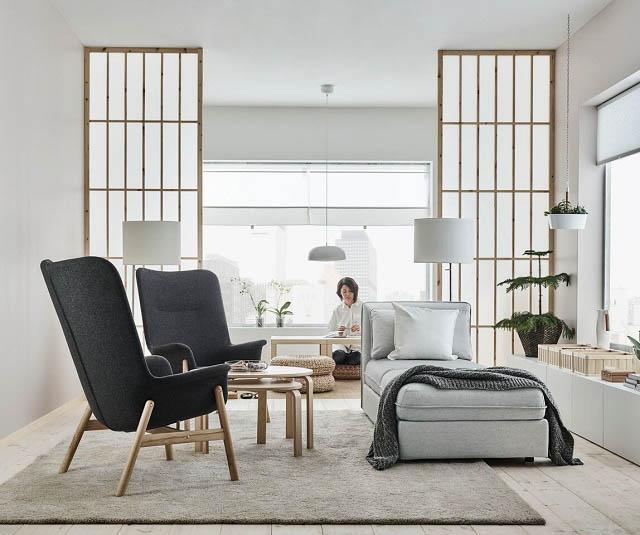 soggiorno in stile giapponese del nuovo catalogo ikea 2018