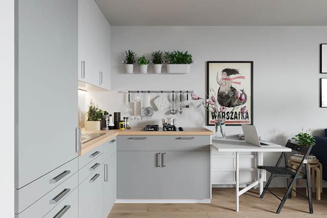 home-tour design appartamento piccolo giovanile cucina grigia