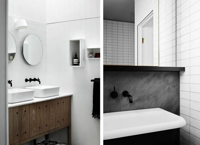 tendenza bagno stile scandinavo rubinetteria nera abbinati a lavandini diversi