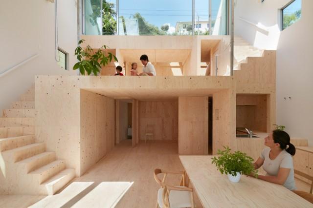 interno in legno di una casa giapponese moderna