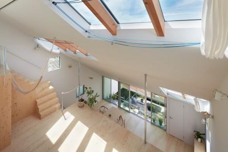 vista dall'alto dell'open space di una casa giapponese