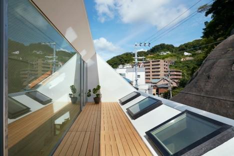 terrazzo esterno di una casa giapponese moderna