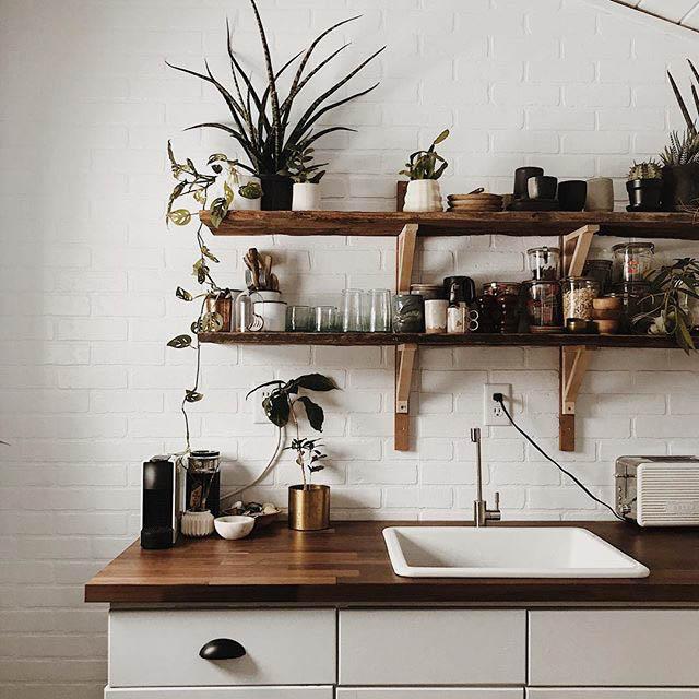 mensole a vista in cucina con bicchieri e piante