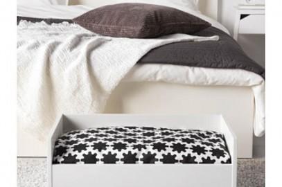 cuccia con cuscino bianco e nero per gatto o cane ikea