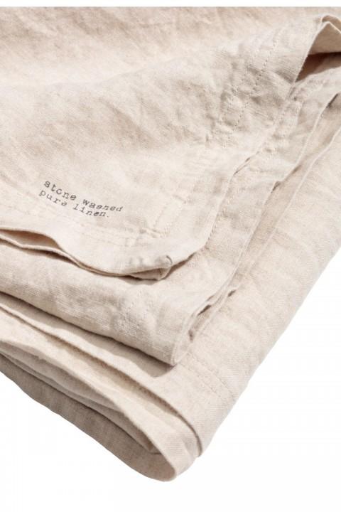 tovaglia beige in lino lavato h&m home