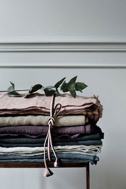 tessili in cotone organico e lino stile wabi sabi