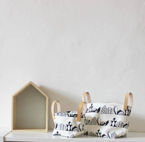 cesti tessuto in stile nordico pattern bianco e nero