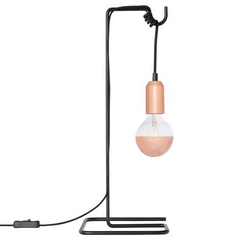 lampada di design loop con dettagli color rame rosa