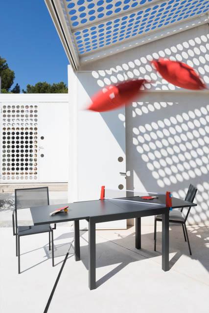 tavolo da esterno grafite con rete ping pong